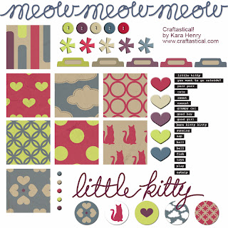 cat themed digital kit for sale on Craftastical! blog