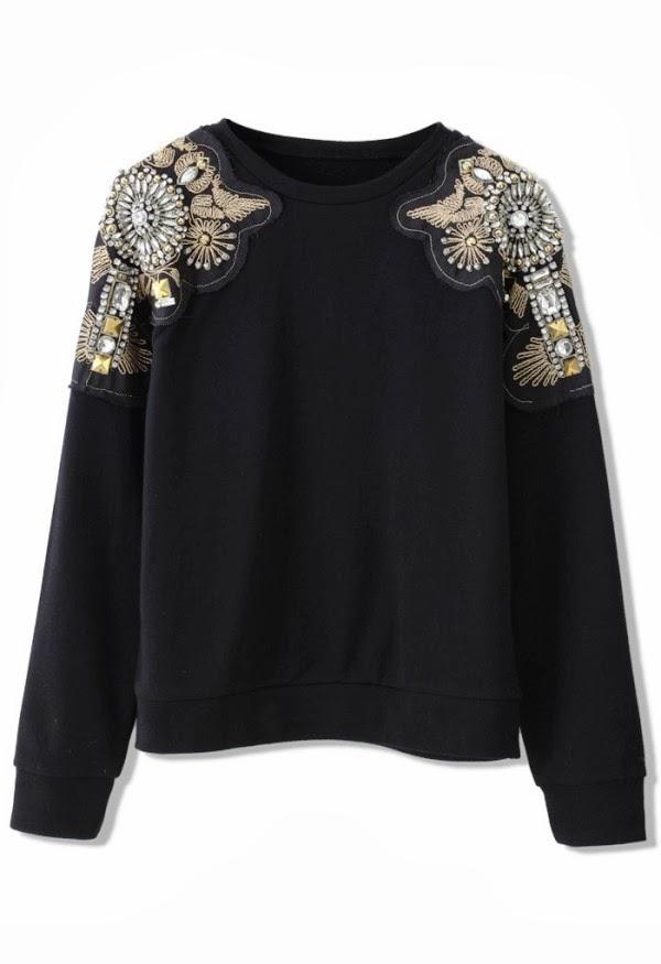 Crystal beads embellished shoulder black fall top