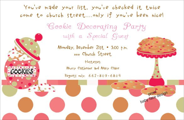 Baby Face Design Cookie decorating party invitation – Cookie Decorating Party Invitations