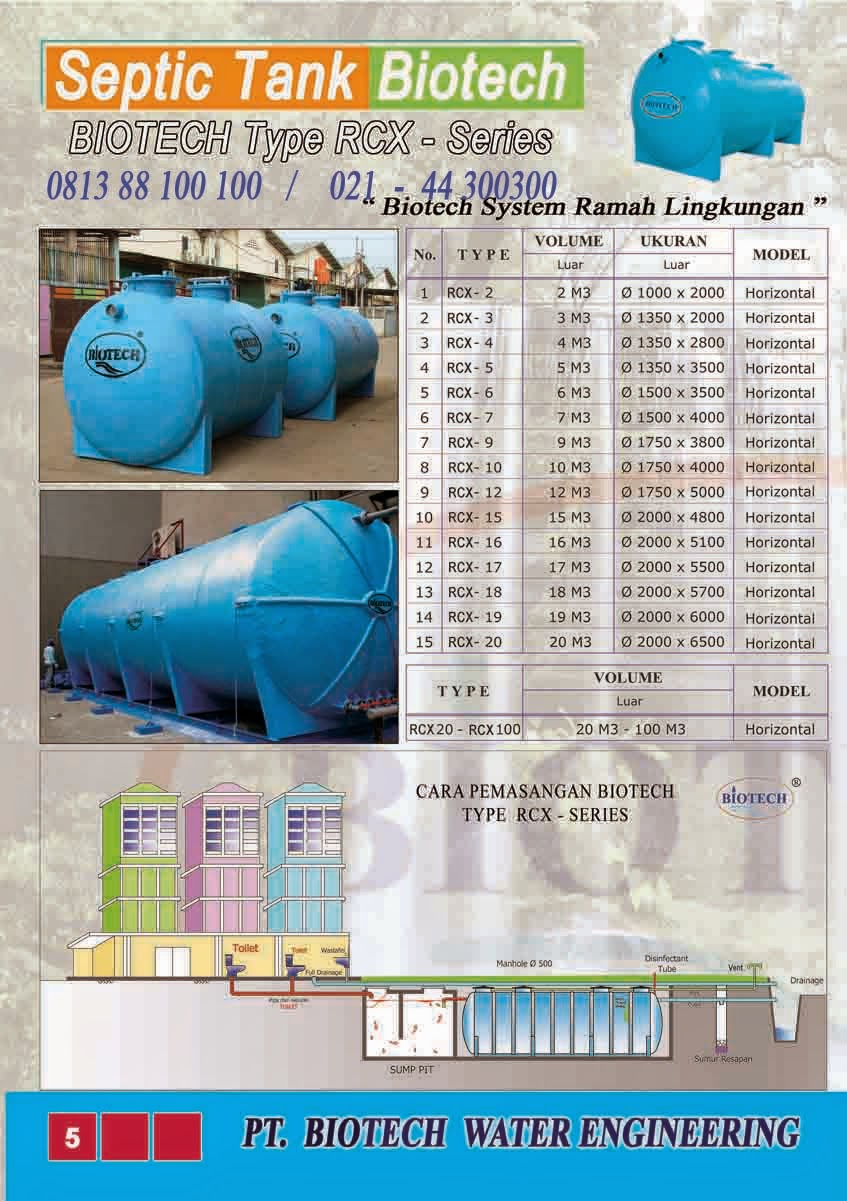 stp biotech rcx, rco, sf, biofive, biogift, biofil, ipal, brosur septic tank biotech