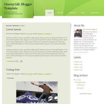 GreenyLife blogger template. minimalist design blogger template