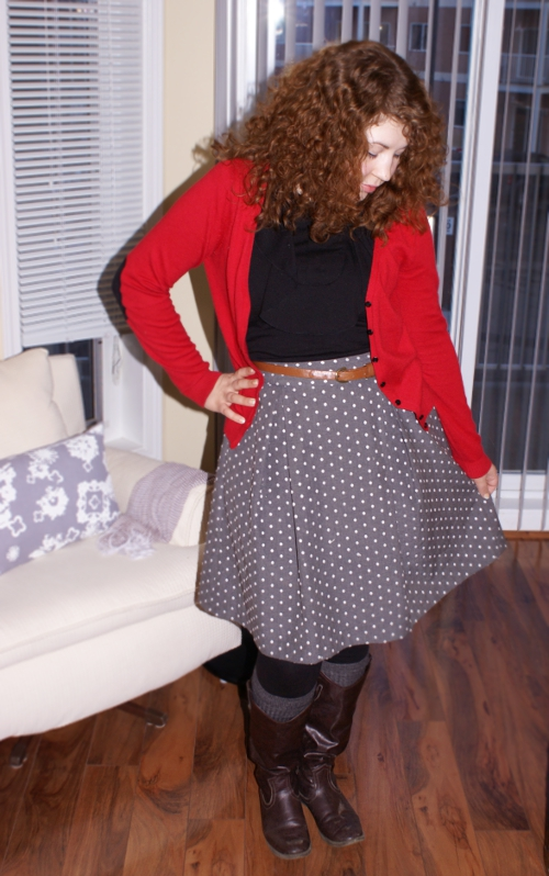 polka dot skirt red elbow patch sweater