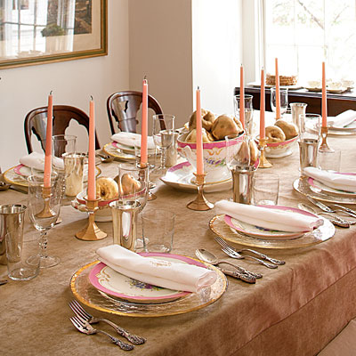 Green street tara guerard champagne and pink for Table linen color combinations