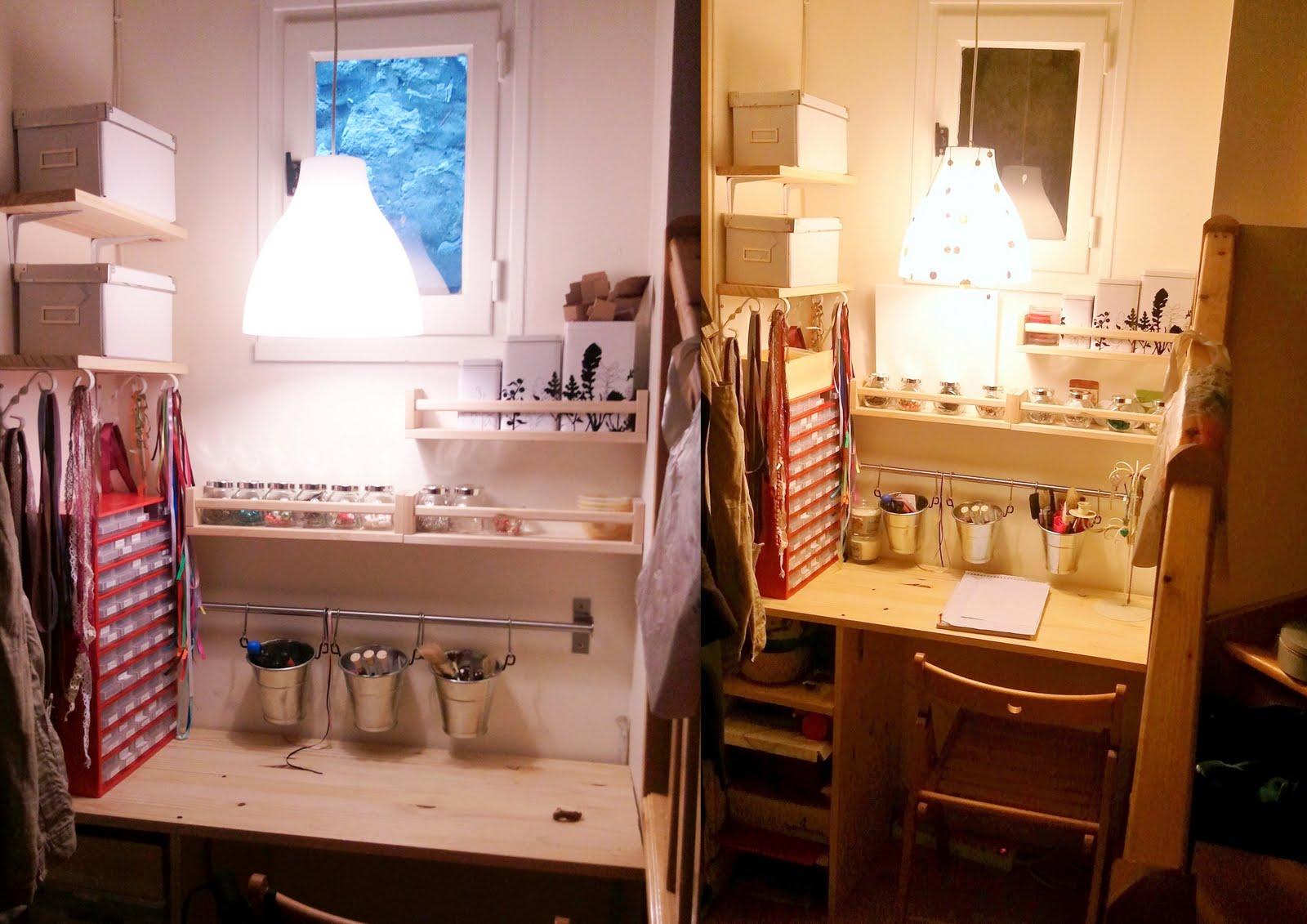 les ptit 39 ounes cr ations mon atelier ou comment am nager un tout petit espace. Black Bedroom Furniture Sets. Home Design Ideas