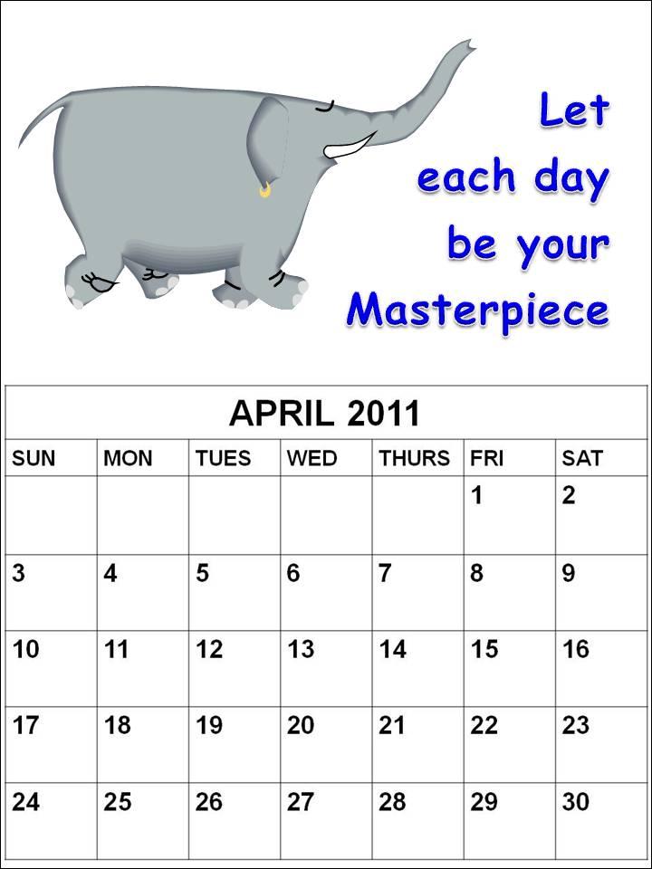 Cute Elephant Template Cute April 2011 Calendar Printable Template
