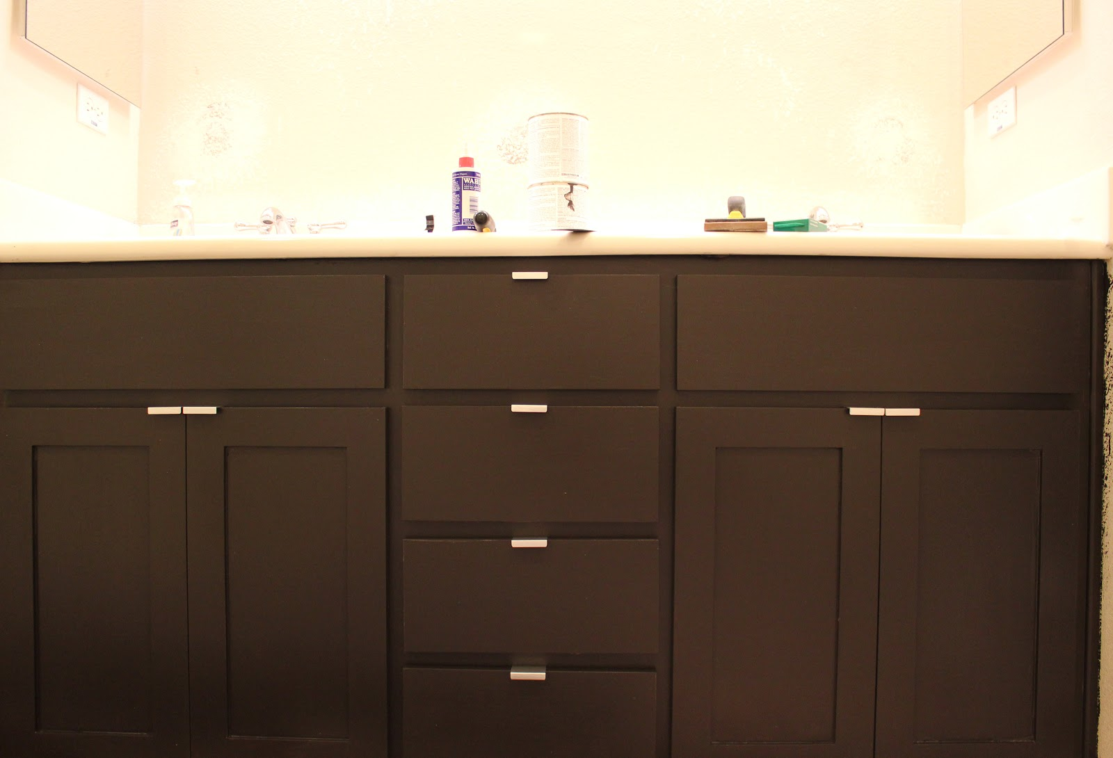 Inside the frame the master bathroom project - How to redo bathroom cabinets for cheap ...