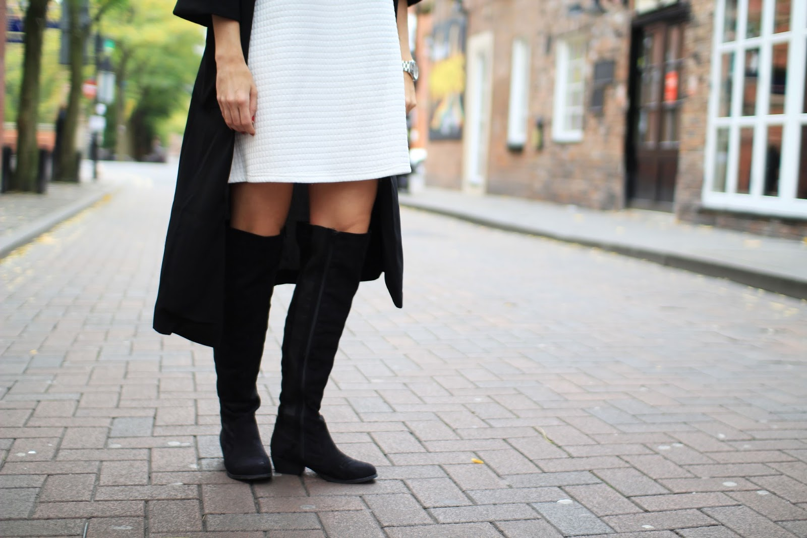 autumn knee high black suede boots