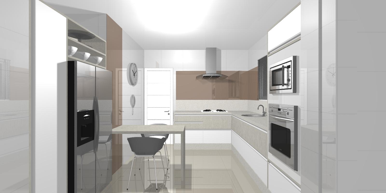 #655950 Fernanda Moschetta: Projetos de Interiores Residênciais Cozinhas 1600x800 px Projetos De Cozinha Para Apartamento #379 imagens