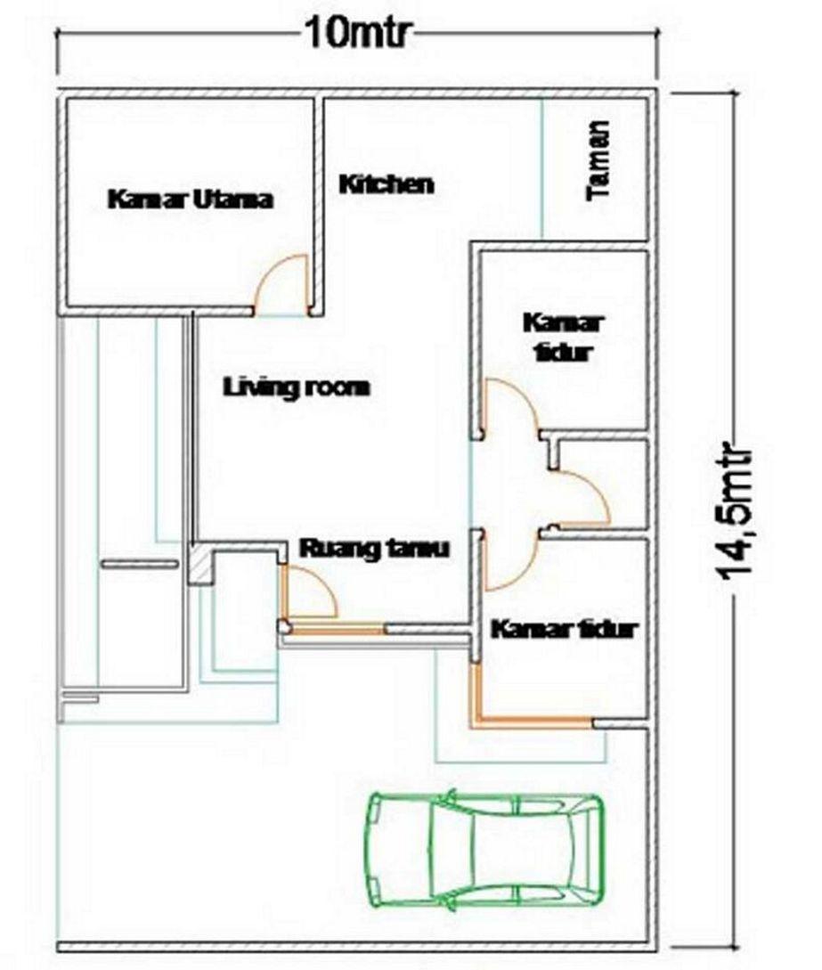 bentuk denah 3 kamar 10x15 unik