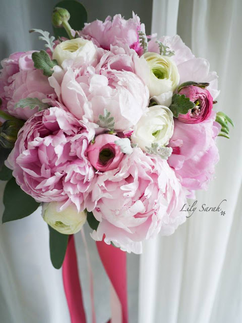pink peony bouquet for the bride