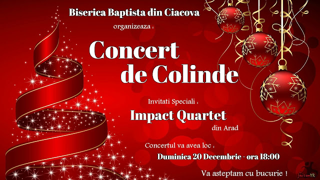 Concert de colinde cu Impact Quartet la Ciacova - 20 decembrie 2015