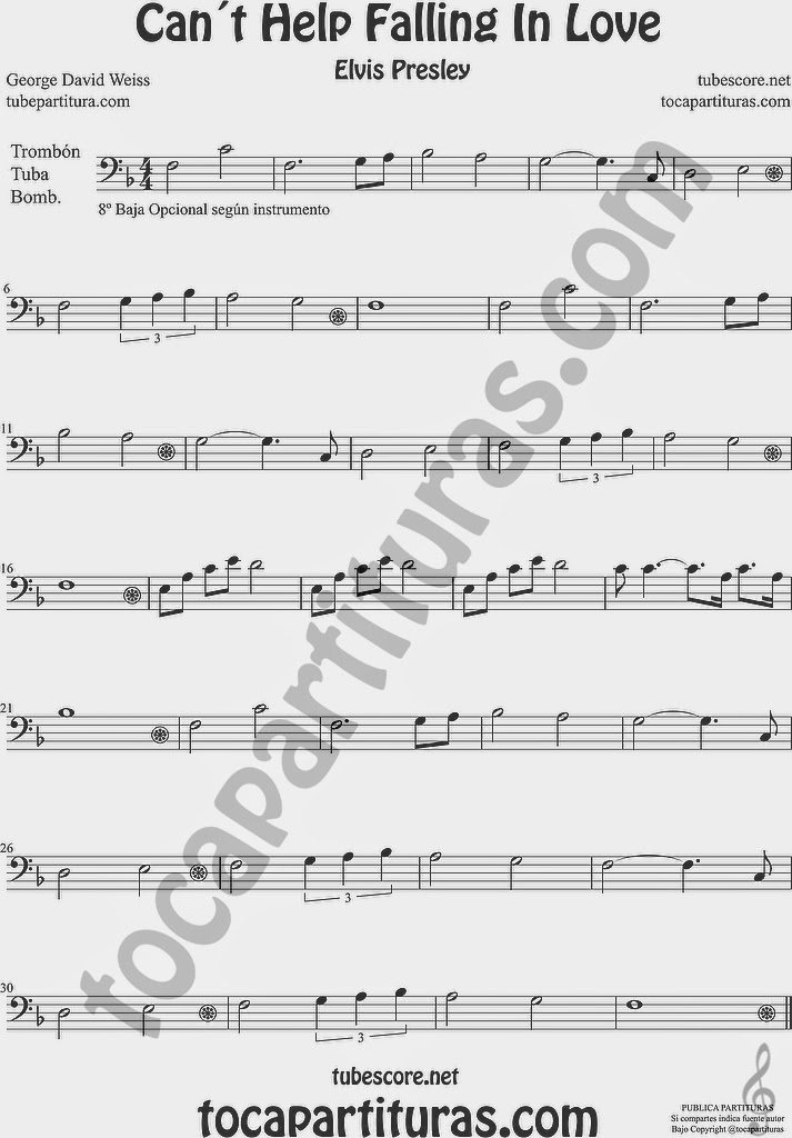 Can´t Help Falling in Love  Partitura de Trombón, Tuba Elicón y Bombardino Sheet Music for Trombone, Tube, Euphonium Music Scores