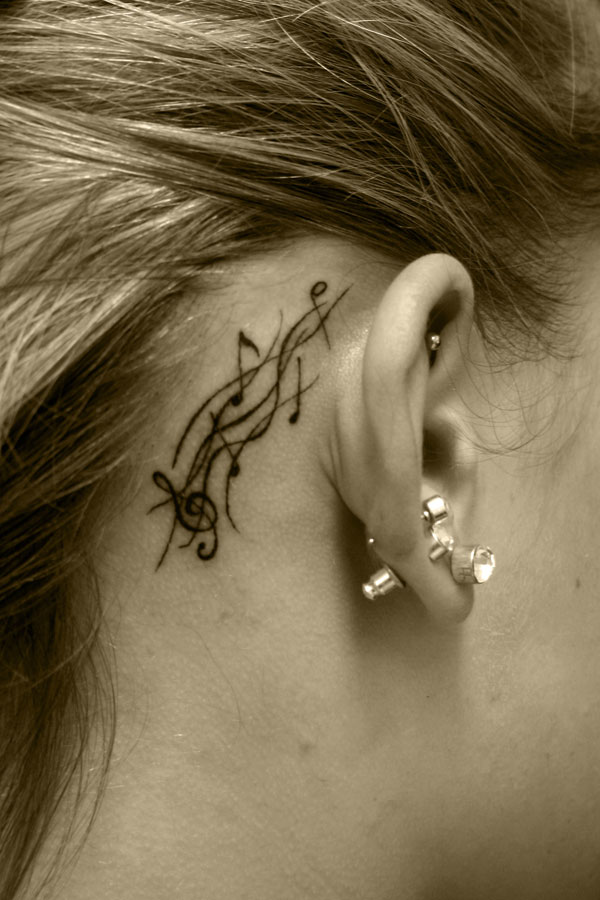 Hannikate Real Music Notes Tattoos border=