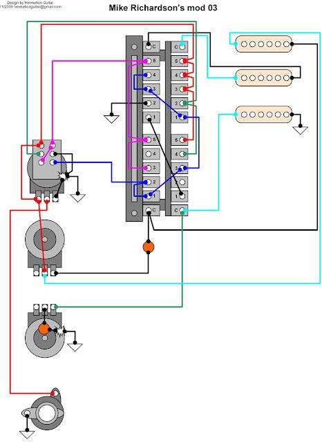 Hermetico Guitar  Wiring Diagram  Mike Richardson Mod 03