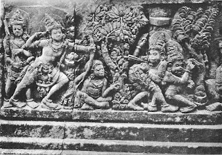 Rama  and Lakshmana defeat Sabahu and Marica, the rakshasas who try to interfere with the sacrifice of the sage Vishvamitra. Marica is the rakshasa who turns himself into a beautiful deer at the request of Ravana, to inveigle Rama away from his home, thus allowing the capture of Sita. Relief from prambanam, Java, eight century.