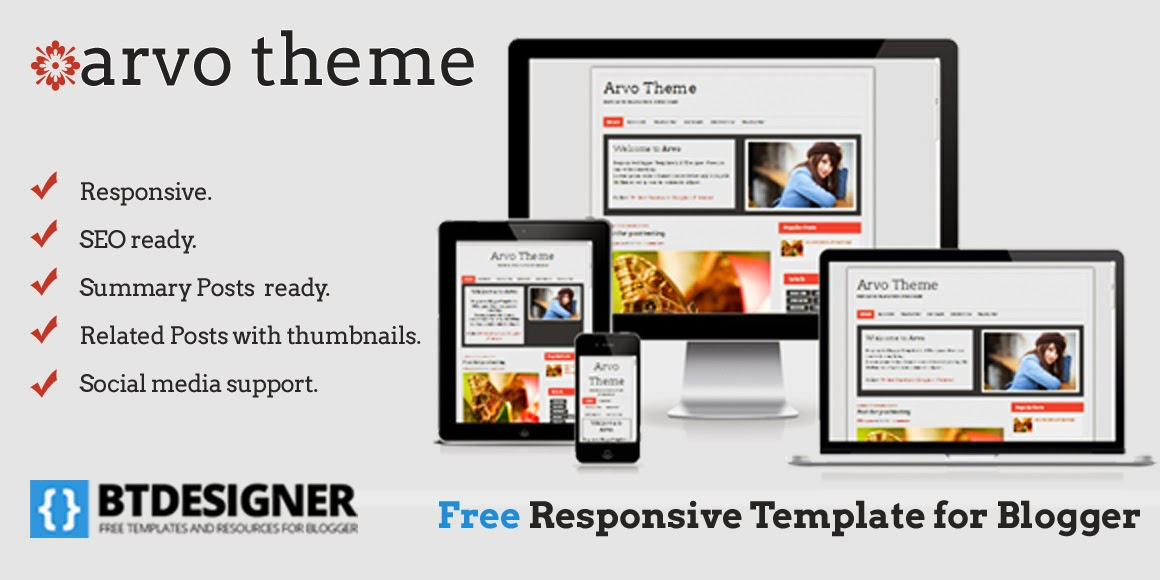 arvo theme is a responsive template blogger for blogger