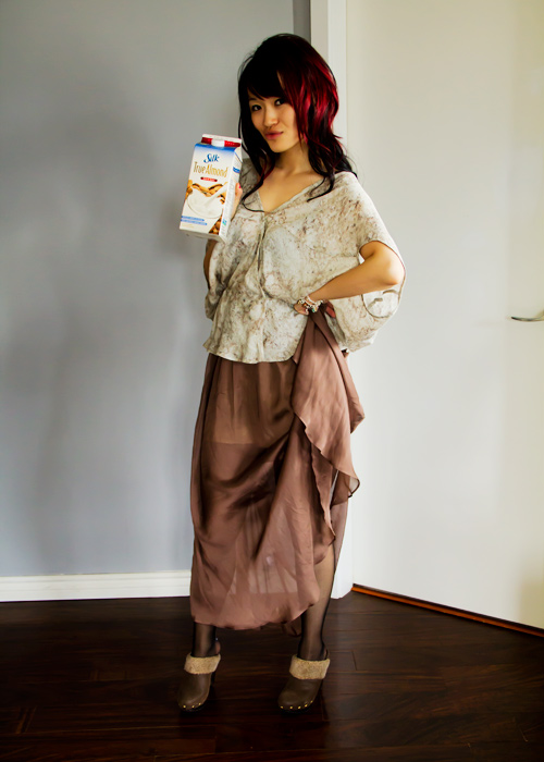 Almond milk inspried outfit, obakki silk shirt, obakki silk max skirt, maxi skirt, aldo tights, aldo clogs, almond milk