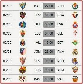 Jadwal La Liga Spanyol 1 Maret – 18 Maret 2014