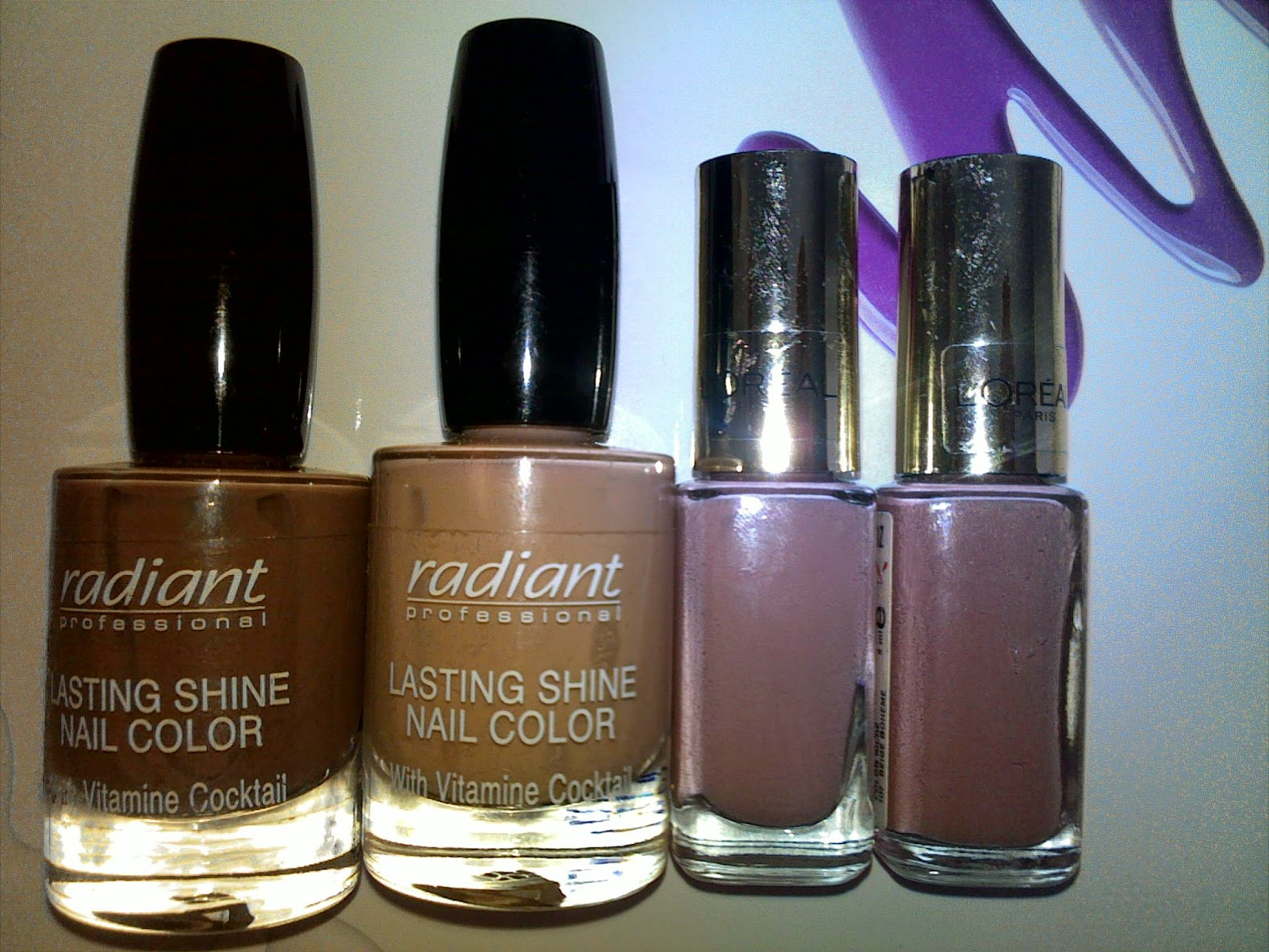 Nude nails, nail polishes from Radiant and L'oreal