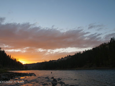 Angler, Clearwater River Idaho, sunset