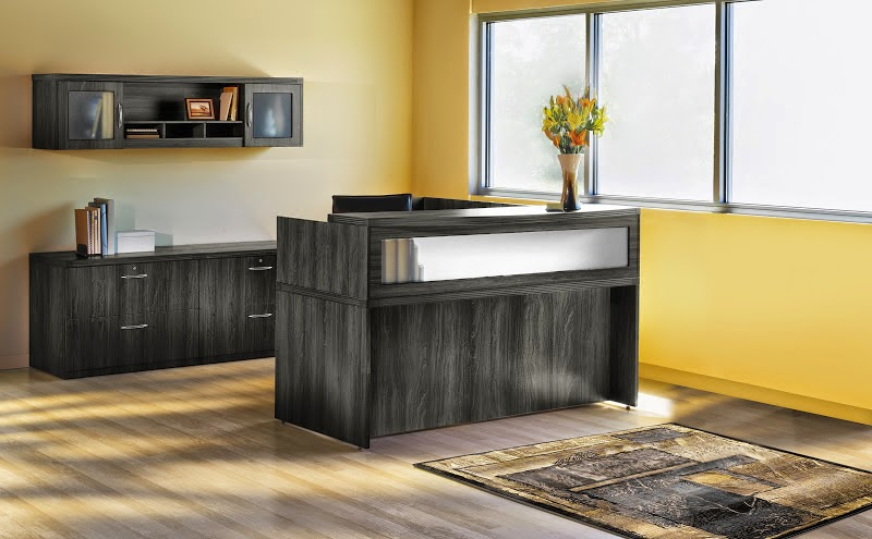 Mayline Aberdeen Reception Desk in Gray Steel