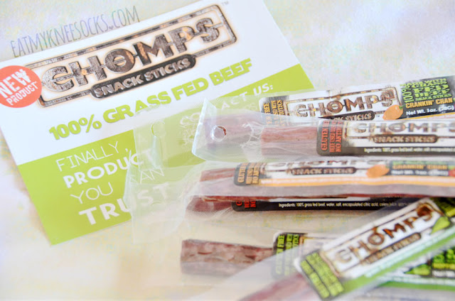Today I'll be reviewing Chomps Snack Sticks in their three flavors: Original, Crankin' Cran, and Hoppin' Jalapeño. These 100% Non-GMO, grass-fed beef snacks promise to deliver the flavor, taste, and protein of similar beef treats without the added preservatives or artificial ingredients.