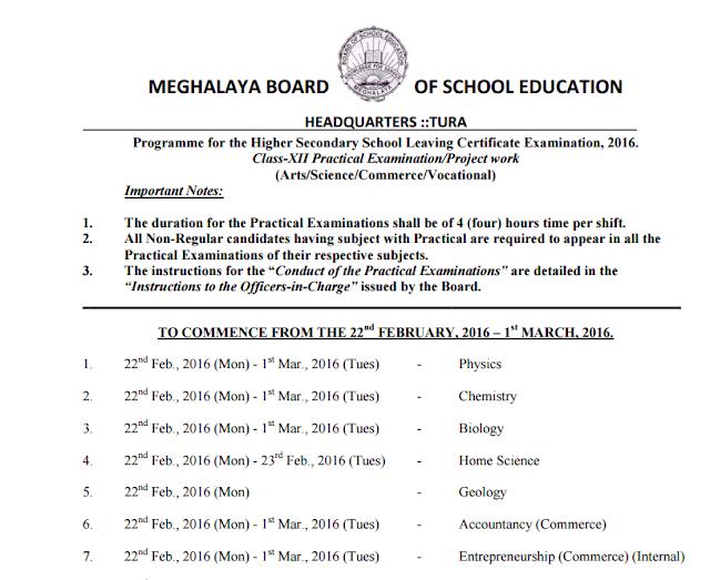 Meghalaya HSSLC Examination Time Table 2016