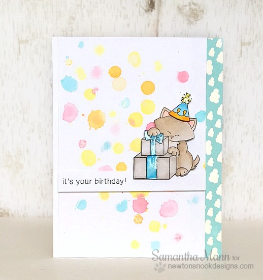 Cat Birthday Card by Samantha Mann | Newton's Birthday Bash stamp set by Newton's Nook Designs