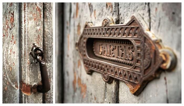 buzón, cartas, puerta, antiguo