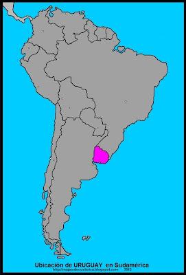 Ubicación de URUGUAY en Sudamérica
