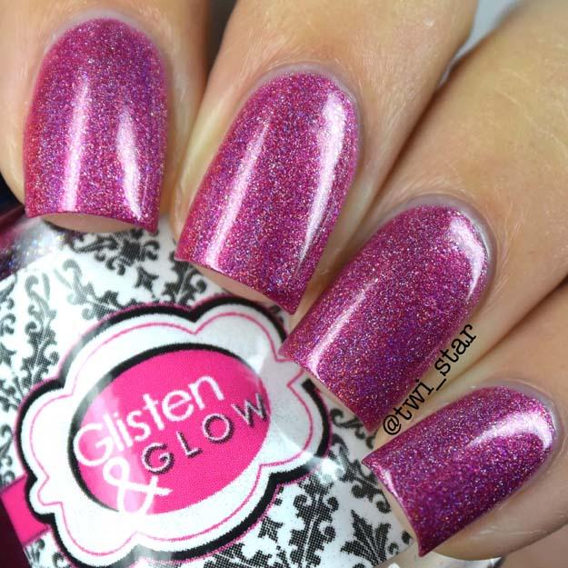 A Box Indied August 2015 Glisten & Glow Veni Vidi Vici pink holo polish