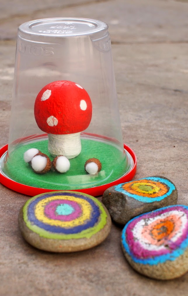 how to make a DIY recycled mushroom terrarium- kids craft