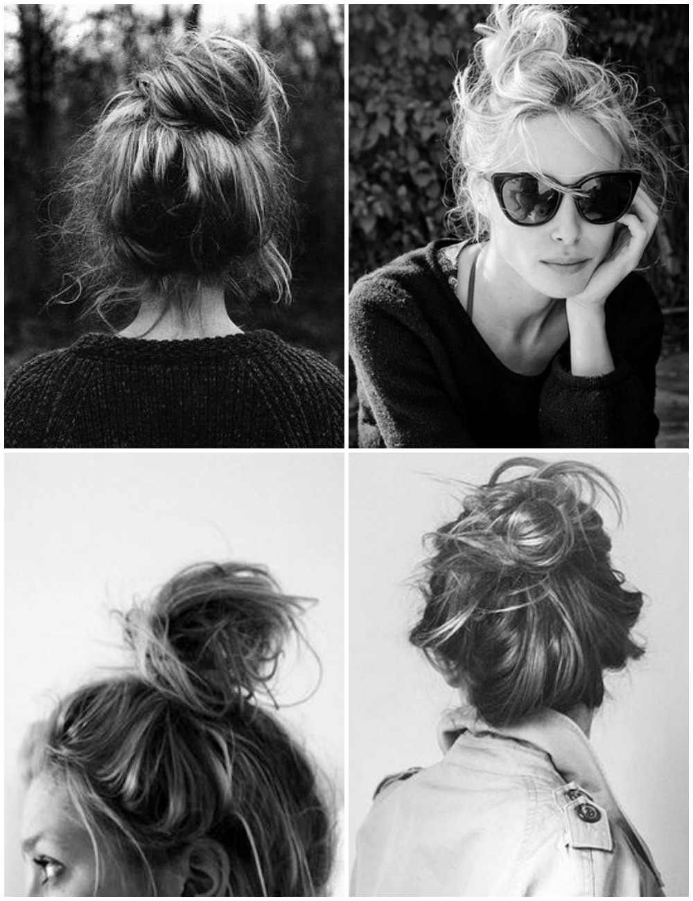 messy hair buns, top knot