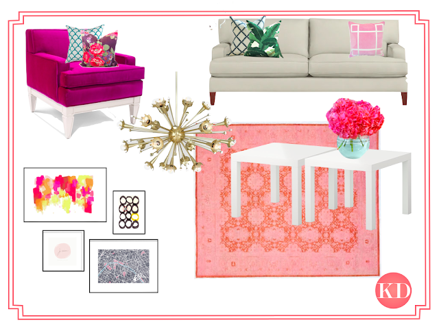 Kate Spade Inspired Living Room Storyboard