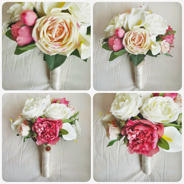an elegant bouquet with superior pink and white garden rose, coral peonies, white calla lily