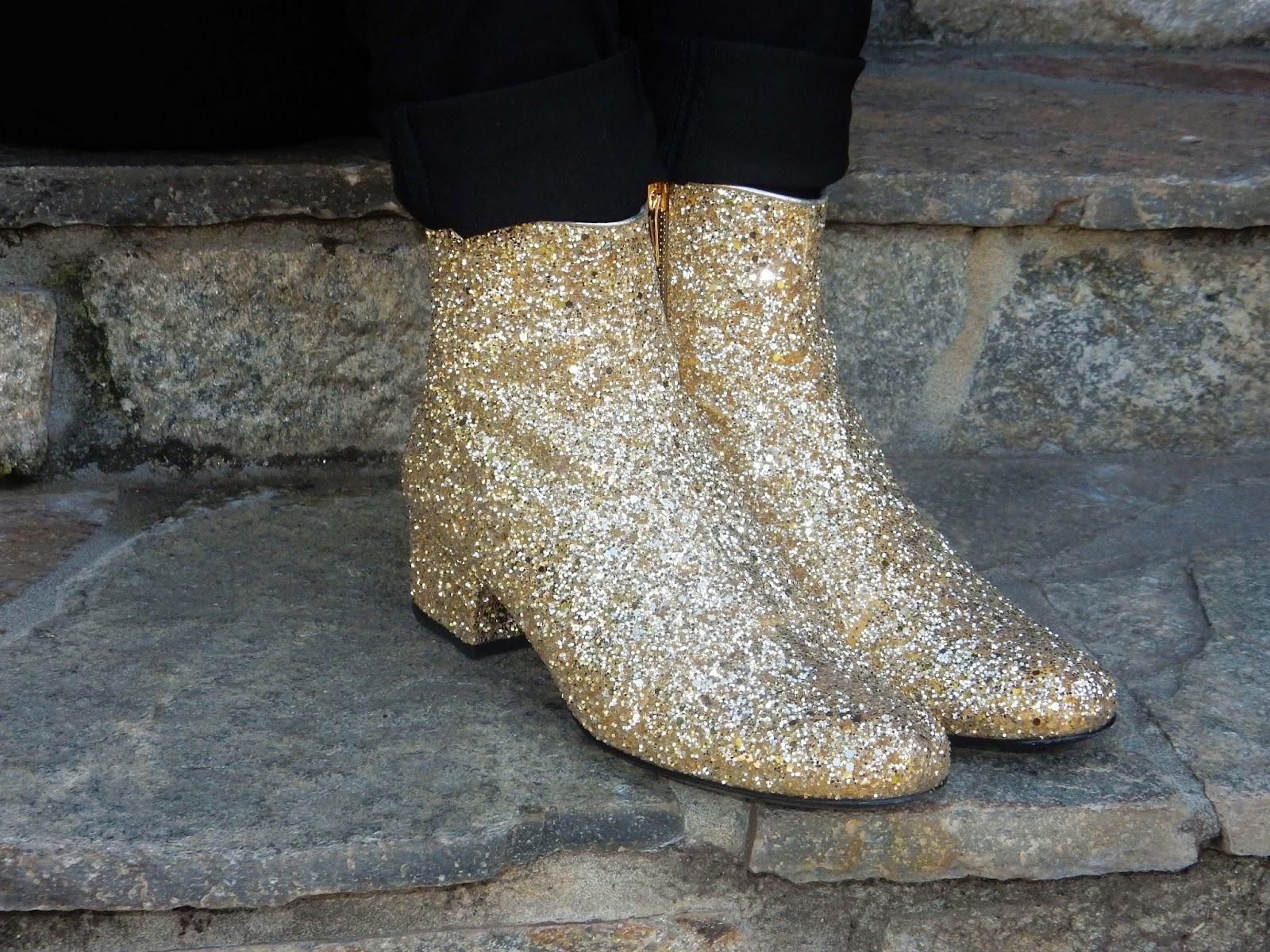 Super shiny saint laurent glitter boots from Barney's New York