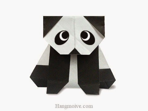 Cách gấp, xếp con gấu trúc Panda ngồi bằng giấy origami - Video hướng dẫn xếp hình - How to make a Panda