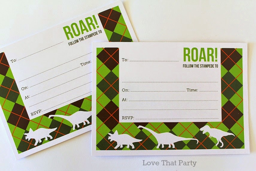 image of kids dinosaur birthday party invitations in green, orange and brown