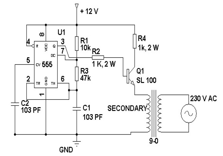 loadedcircuit com  12 volt to 230 volt inverter circuit diagram using ic 555 description