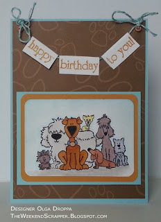 Handmade card using Stampingbella Woofin' It Up dog stamp and birthday banner