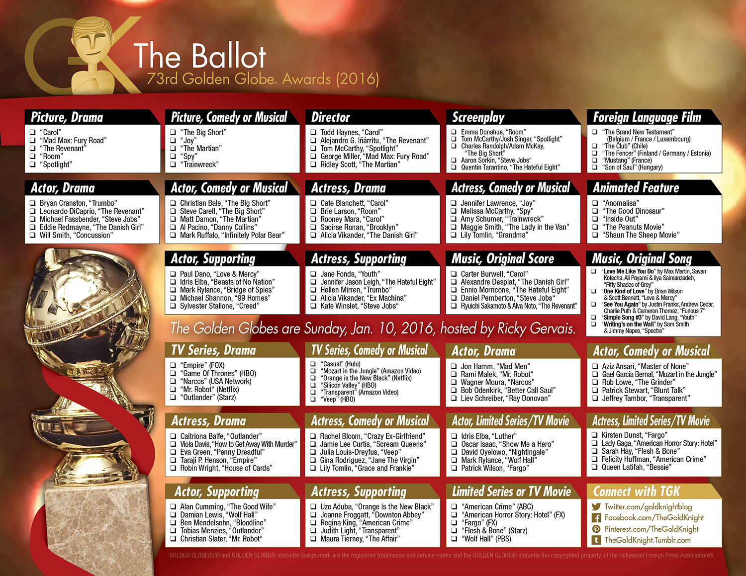 2016 Golden Globe Awards Printable Ballot on printable oscars 2017 predictions