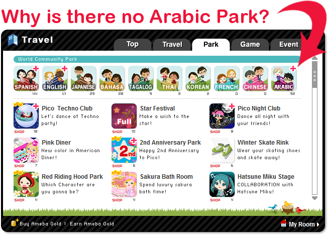Why is there no Arabic Park?