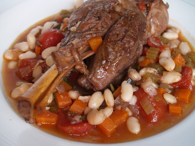 Persimmon and Peach: Braised Lamb Shanks with White Beans & Rosemary