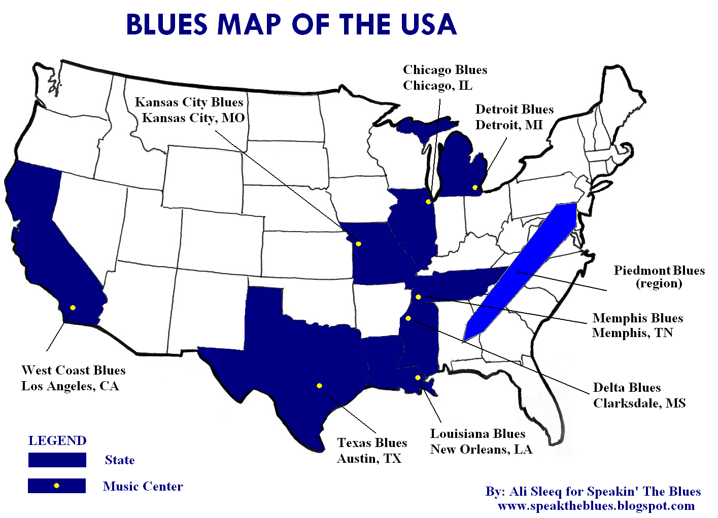 Speakin The Blues The Blues Map Of The USA - Usa map memphis