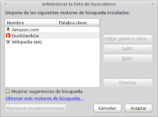 Añadir buscadores a Firefox en Linux Mint Debian Edition