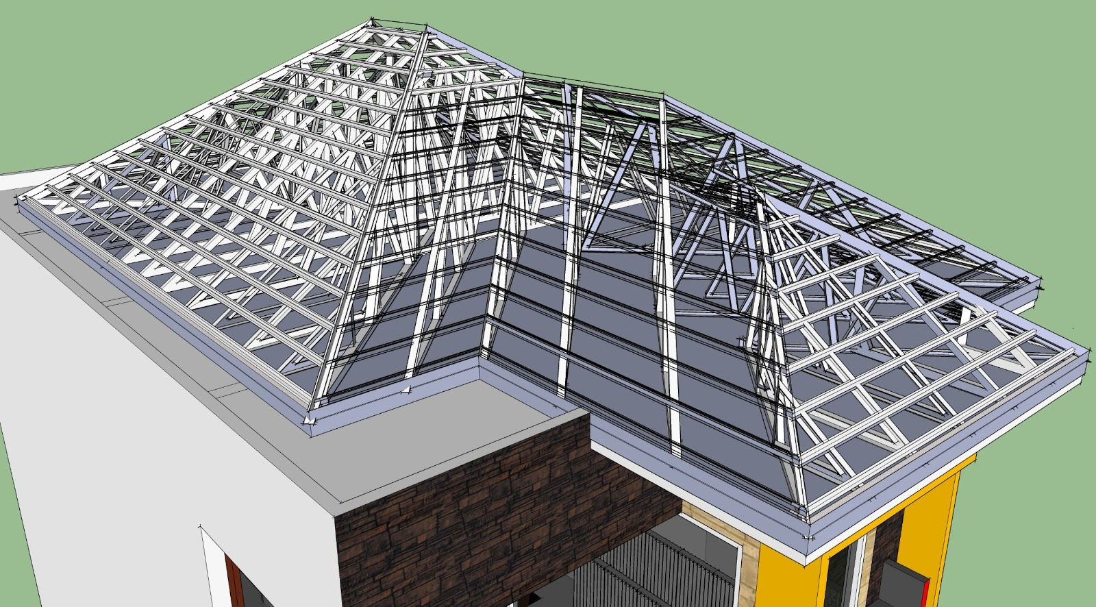 sketsa arsitektur tips pemasangan rangka atap galvalum