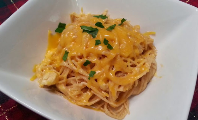 Creamy Crock Pot Cheddar Chicken Spaghetti | Don't Eat Less Eat Smart