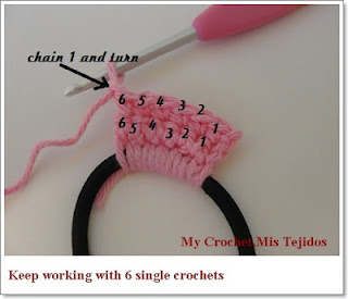 Always use the 1st stitch for the  1 single crochet and continue until you had reach the 6th stitch ,chain 1 and turn.