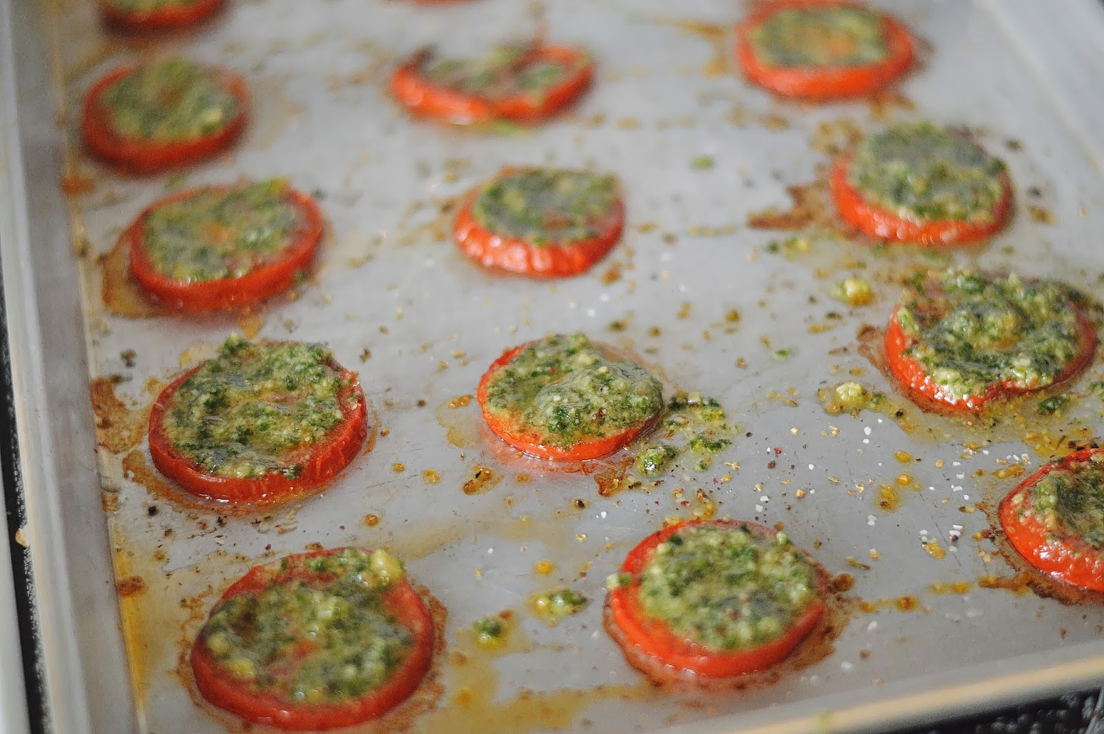 the art of comfort baking: parmesan pesto roasted tomatoes