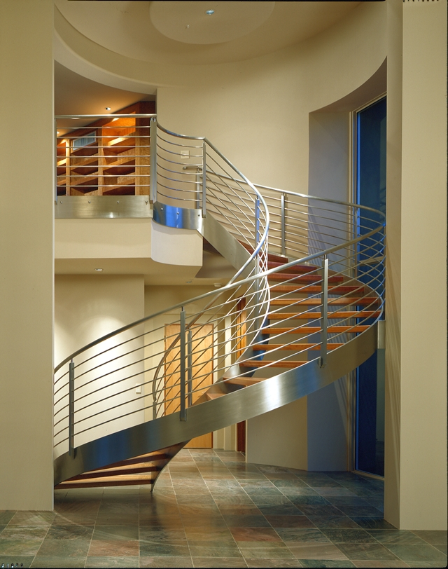 Beautiful spiral staircase to the upper floor